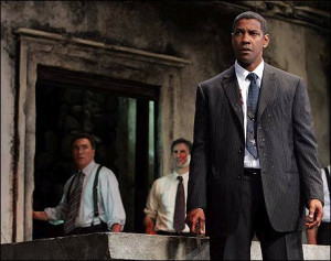 Patrick Page, Richard Topol and Denzel Washington - photo by Joan Marcus