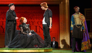 Patrick Page, Kate Burton, Hamish Linklater, and Teagle F. Bougere in Cymbeline - Shakespeare in the Park