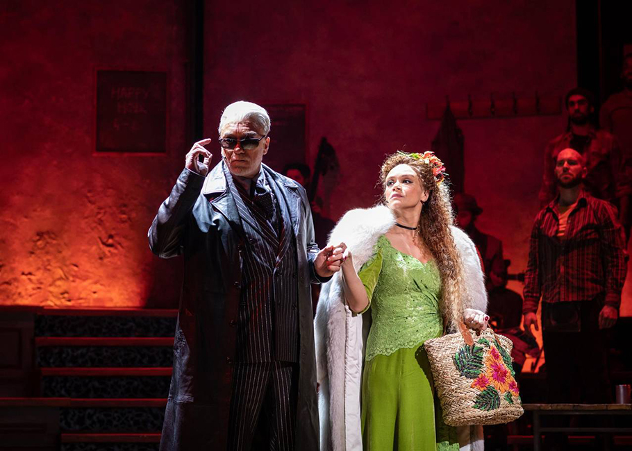 Patrick Page as Hades and Amber Gray as Persephone in Hadestown at the National Theatre - c Helen Maybanks