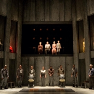 The cast of the Shakespeare Theatre Company's production of 'Coriolanus', directed by David Muse. Photo by Scott Suchman.