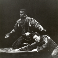 Le Wan Alexander (Othello) and Patrick Page (Iago) in OTHELLO