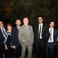 Director Giovanna Sardelli, playwright Rajiv Joseph, and cast members Joanne McGee, Todd Weeks, Patrick Page, Ramiz Monsef, Stephen Stocking and Josiah Bania