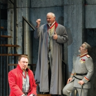 Patrick Page as Coriolanus, Robert Sicular as Menenius and Steve Pickering as Cominius in the Shakespeare Theatre Company's production of 'Coriolanus', directed by David Muse. Photo by Scott Suchman.